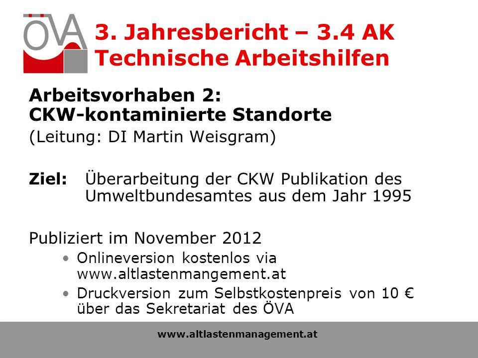 3. Jahresbericht – 3.4 AK Technische Arbeitshilfen Arbeitsvorhaben 2: CKW-kontaminierte Standorte (Leitung: DI Martin Weisgram) Ziel: Überarbeitung de