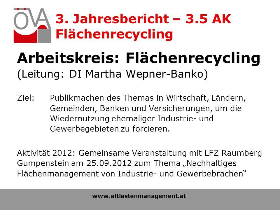 3. Jahresbericht – 3.5 AK Flächenrecycling Arbeitskreis: Flächenrecycling (Leitung: DI Martha Wepner-Banko) Ziel: Publikmachen des Themas in Wirtschaf