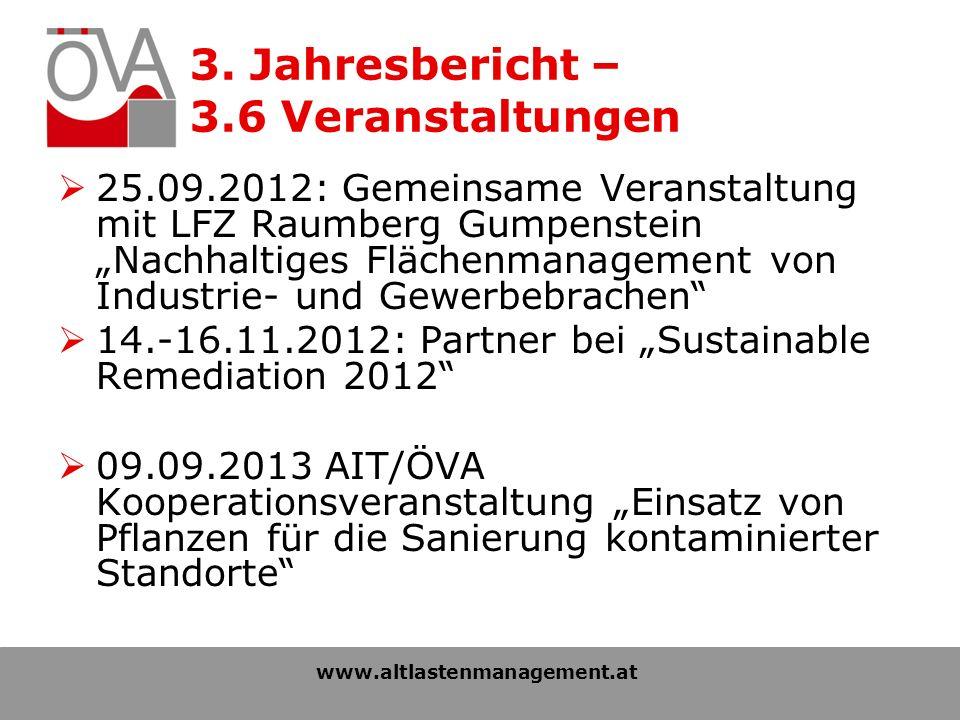 3. Jahresbericht – 3.6 Veranstaltungen 25.09.2012: Gemeinsame Veranstaltung mit LFZ Raumberg Gumpenstein Nachhaltiges Flächenmanagement von Industrie-
