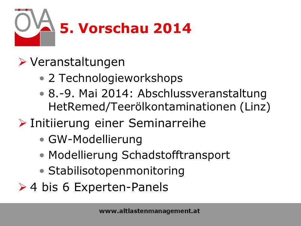 5. Vorschau 2014 Veranstaltungen 2 Technologieworkshops 8.-9.