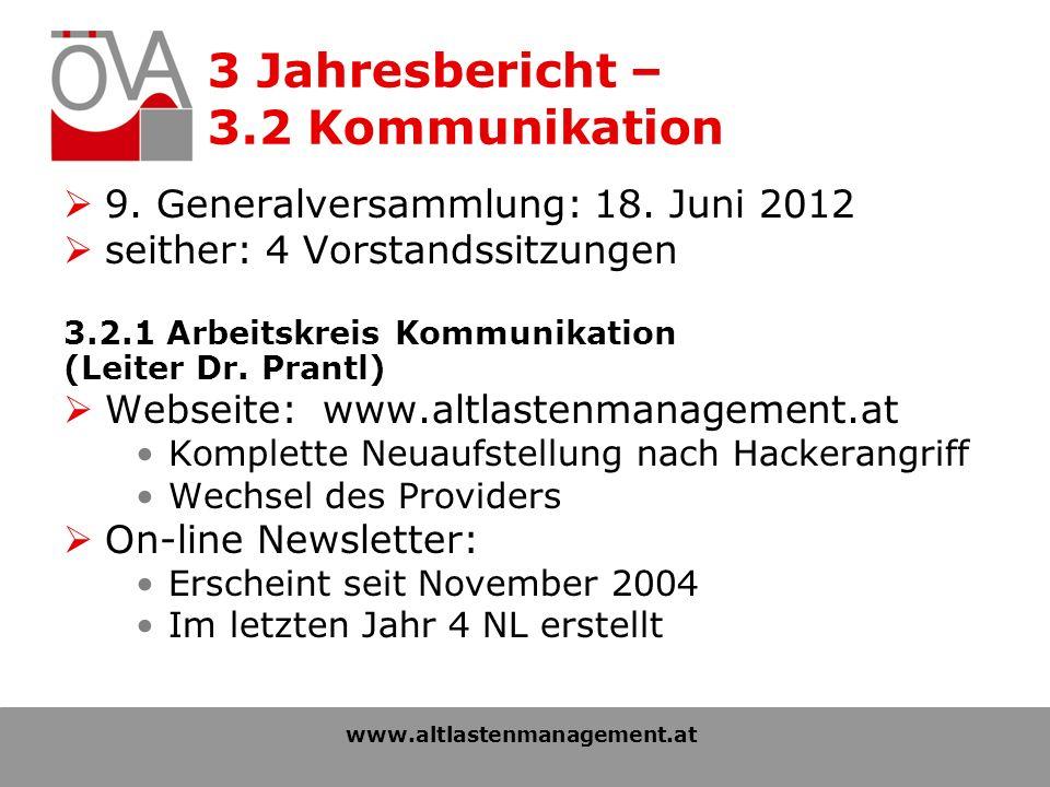 3 Jahresbericht – 3.2 Kommunikation 9. Generalversammlung: 18.