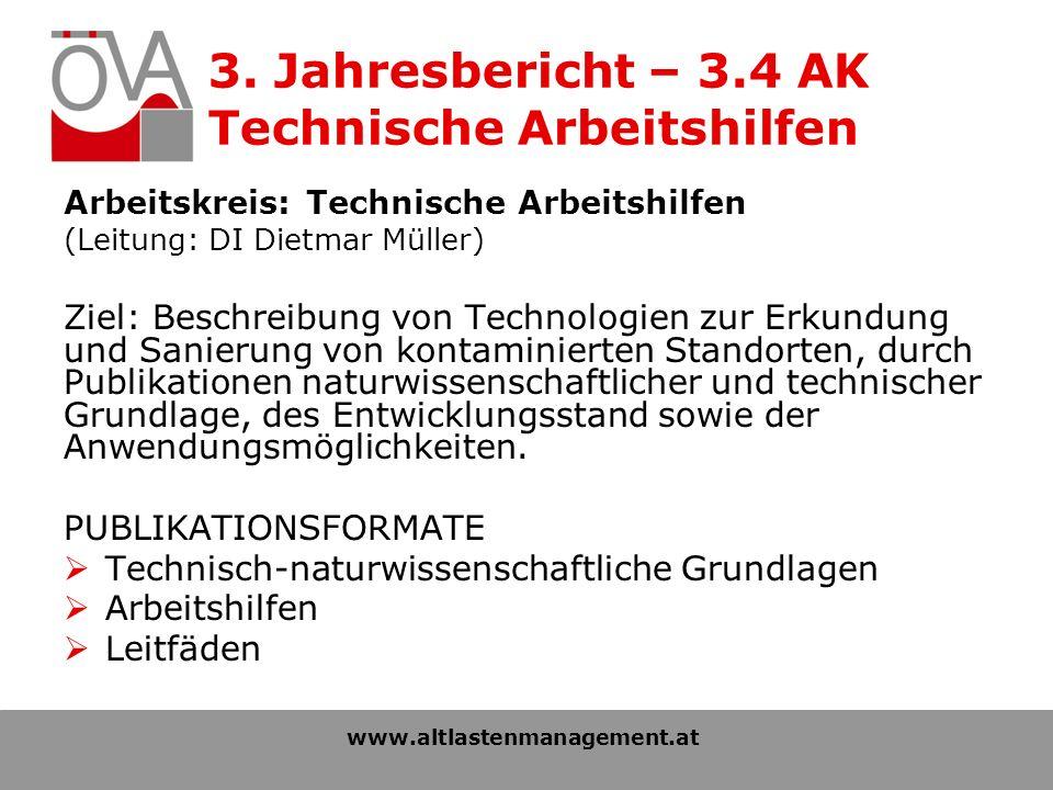 3. Jahresbericht – 3.4 AK Technische Arbeitshilfen Arbeitskreis: Technische Arbeitshilfen (Leitung: DI Dietmar Müller) Ziel: Beschreibung von Technolo
