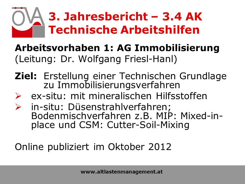 3. Jahresbericht – 3.4 AK Technische Arbeitshilfen Arbeitsvorhaben 1: AG Immobilisierung (Leitung: Dr. Wolfgang Friesl-Hanl) Ziel: Erstellung einer Te