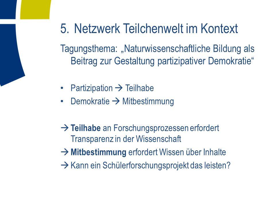 5. Netzwerk Teilchenwelt im Kontext Tagungsthema: Naturwissenschaftliche Bildung als Beitrag zur Gestaltung partizipativer Demokratie Partizipation Te