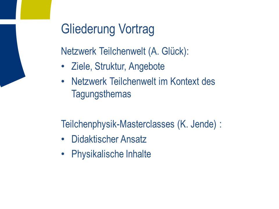 Gliederung Vortrag Netzwerk Teilchenwelt (A.