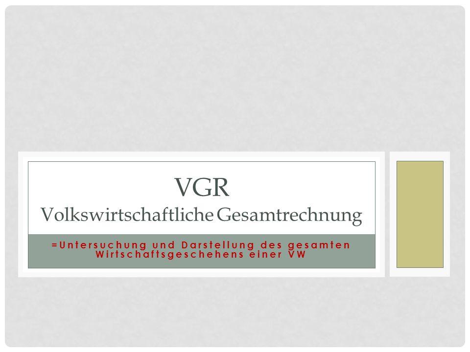 =Untersuchung und Darstellung des gesamten Wirtschaftsgeschehens einer VW VGR Volkswirtschaftliche Gesamtrechnung