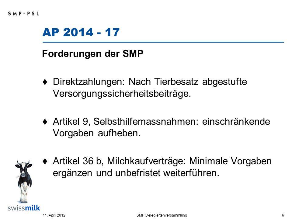AP 2014 - 17 Forderungen der SMP Direktzahlungen: Nach Tierbesatz abgestufte Versorgungssicherheitsbeiträge.