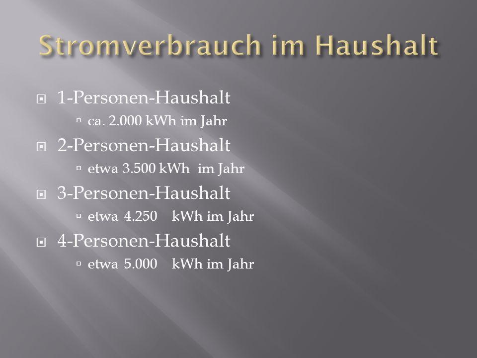 1-Personen-Haushalt ca. 2.000 kWh im Jahr 2-Personen-Haushalt etwa 3.500 kWh im Jahr 3-Personen-Haushalt etwa 4.250kWh im Jahr 4-Personen-Haushalt etw
