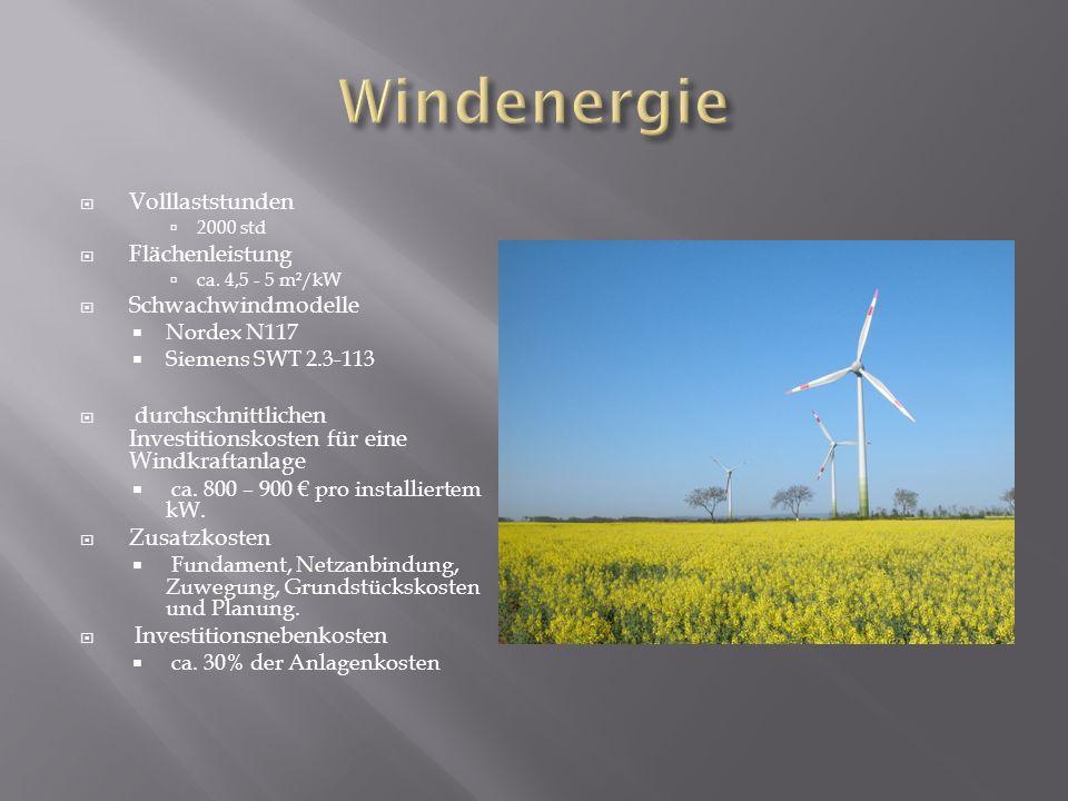 Volllaststunden 2000 std Flächenleistung ca. 4,5 - 5 m²/kW Schwachwindmodelle Nordex N117 Siemens SWT 2.3-113 durchschnittlichen Investitionskosten fü