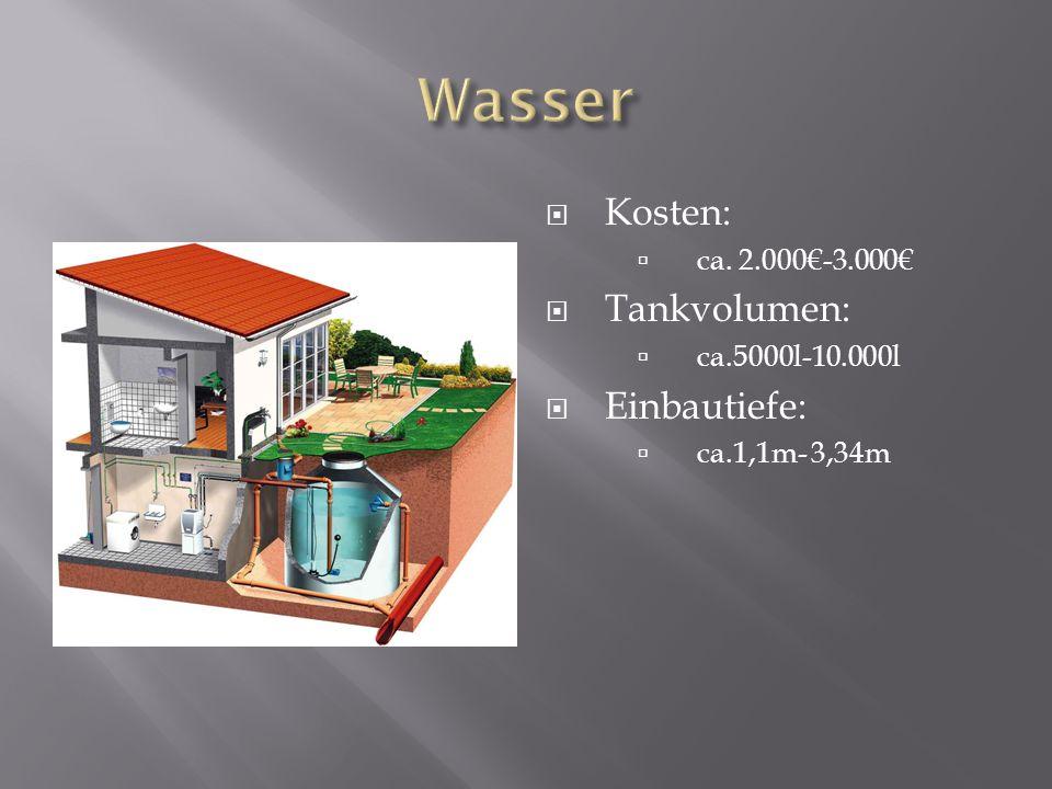Kosten: ca. 2.000-3.000 Tankvolumen: ca.5000l-10.000l Einbautiefe: ca.1,1m- 3,34m