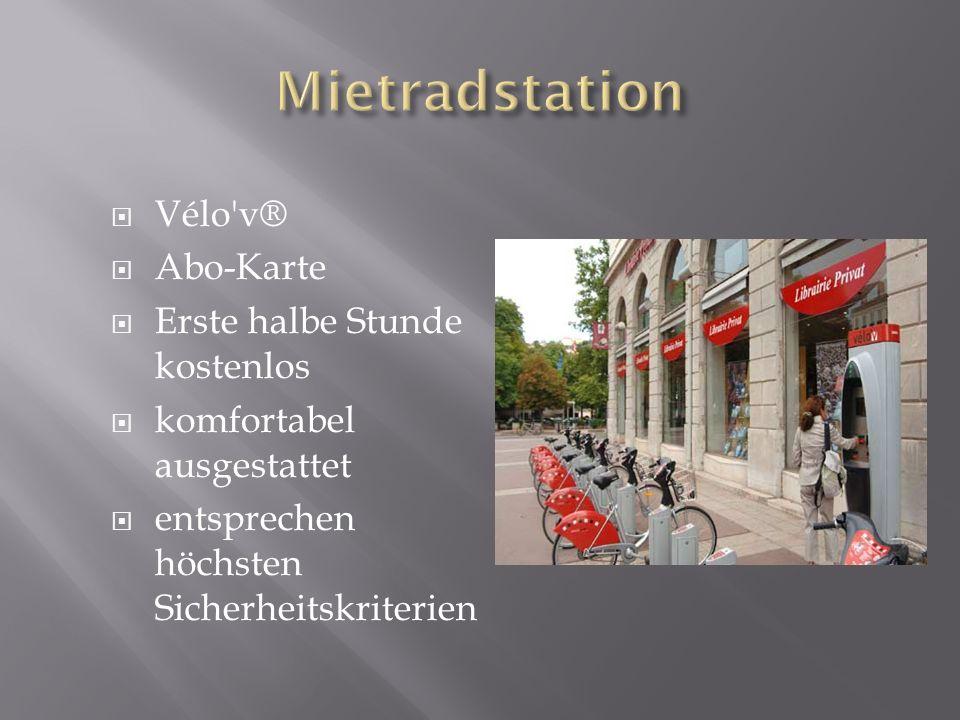 Vélo'v® Abo-Karte Erste halbe Stunde kostenlos komfortabel ausgestattet entsprechen höchsten Sicherheitskriterien