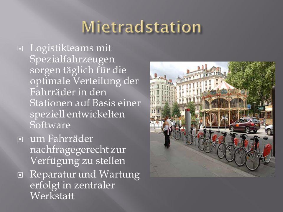 Logistikteams mit Spezialfahrzeugen sorgen täglich für die optimale Verteilung der Fahrräder in den Stationen auf Basis einer speziell entwickelten So