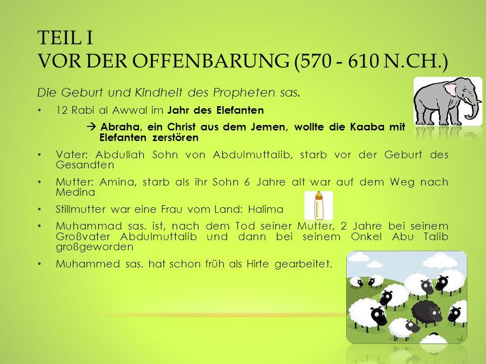 TEIL I VOR DER OFFENBARUNG (570 - 610 N.CH.) Die Geburt und Kindheit des Propheten sas. 12 Rabi al Awwal im Jahr des Elefanten Abraha, ein Christ aus