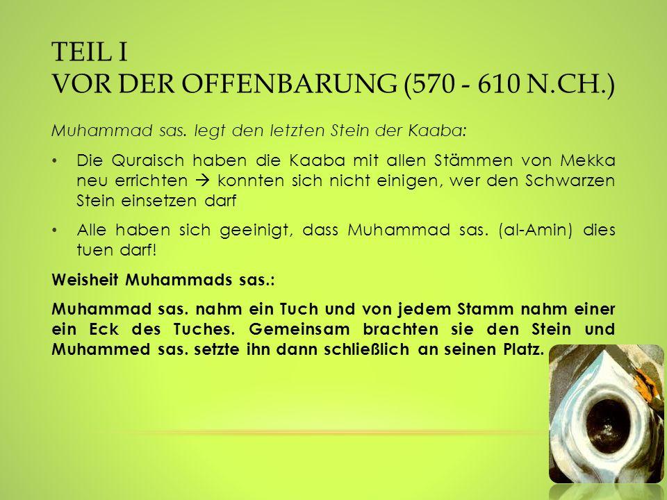 TEIL I VOR DER OFFENBARUNG (570 - 610 N.CH.) Muhammad sas. legt den letzten Stein der Kaaba: Die Quraisch haben die Kaaba mit allen Stämmen von Mekka