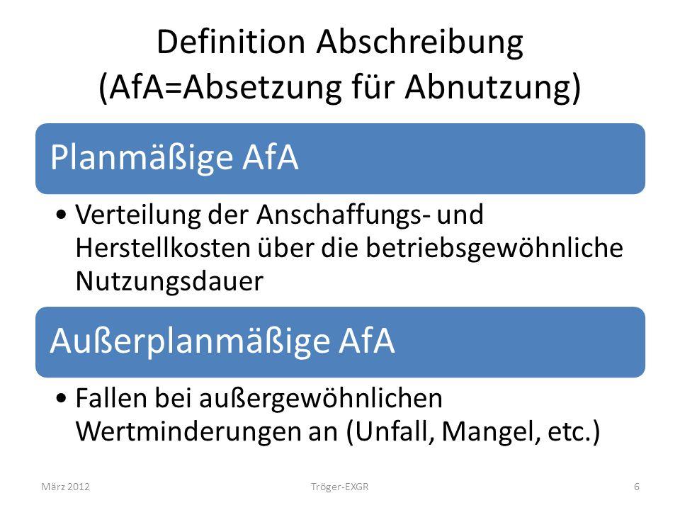 Definition Abschreibung (AfA=Absetzung für Abnutzung) Planmäßige AfA Verteilung der Anschaffungs- und Herstellkosten über die betriebsgewöhnliche Nutz