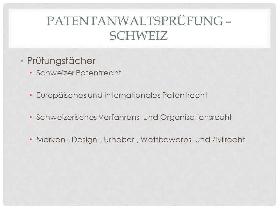 PATENTANWALTSPRÜFUNG – SCHWEIZ Prüfungsfächer Schweizer Patentrecht Europäisches und internationales Patentrecht Schweizerisches Verfahrens- und Organ