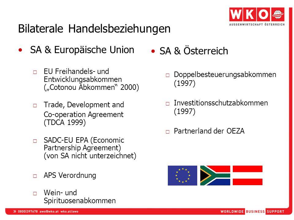 Bilaterale Handelsbeziehungen SA & Europäische Union EU Freihandels- und Entwicklungsabkommen (Cotonou Abkommen 2000) Trade, Development and Co-operat