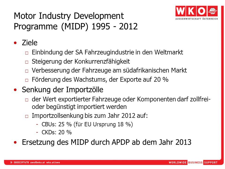 Motor Industry Development Programme (MIDP) 1995 - 2012 Ziele Einbindung der SA Fahrzeugindustrie in den Weltmarkt Steigerung der Konkurrenzfähigkeit