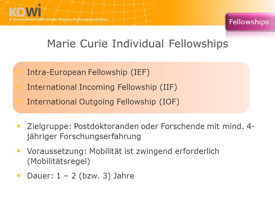 Marie Curie Individual Fellowships Intra-European Fellowship (IEF) International Incoming Fellowship (IIF) International Outgoing Fellowship (IOF) Zie