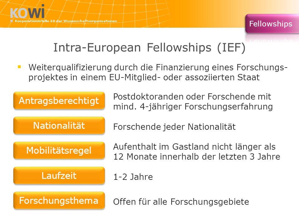 Intra-European Fellowships (IEF) Postdoktoranden oder Forschende mit mind. 4-jähriger Forschungserfahrung Forschende jeder Nationalität Aufenthalt im