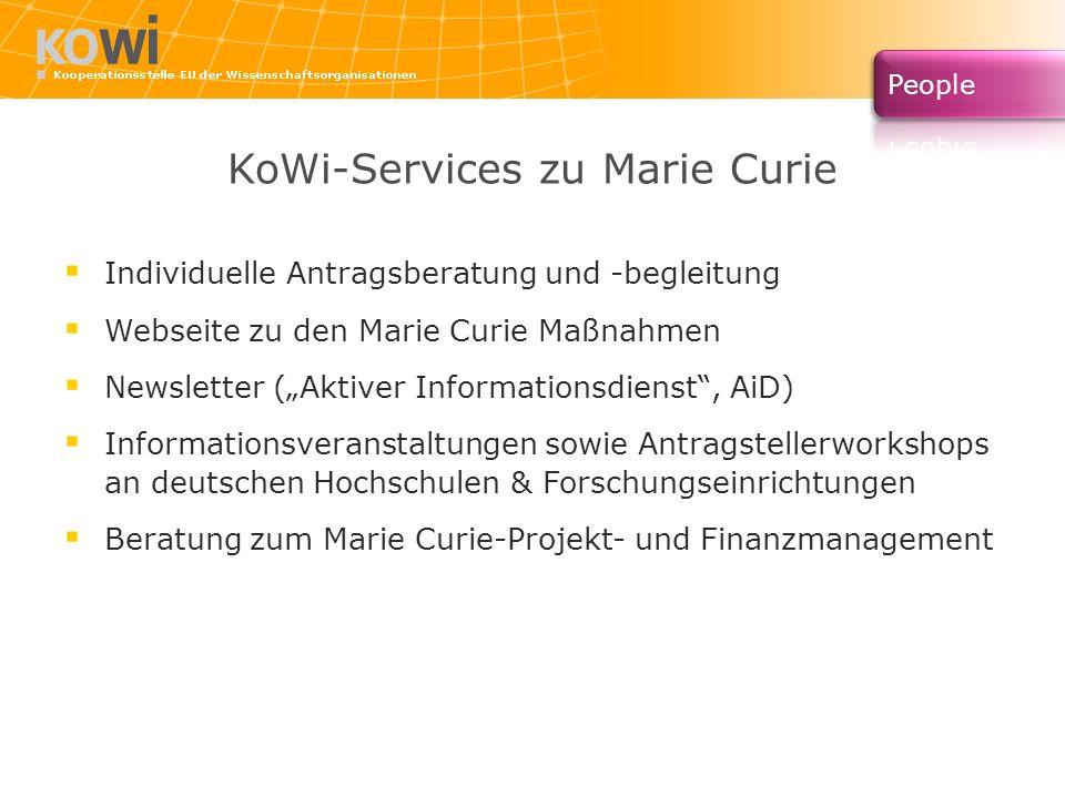 KoWi-Services zu Marie Curie Individuelle Antragsberatung und -begleitung Webseite zu den Marie Curie Maßnahmen Newsletter (Aktiver Informationsdienst