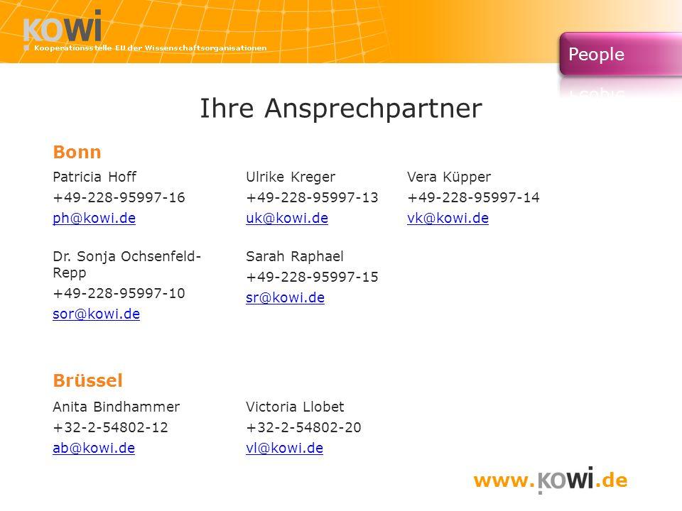 Ihre Ansprechpartner Bonn Patricia Hoff +49-228-95997-16 ph@kowi.de Ulrike Kreger +49-228-95997-13 uk@kowi.de Vera Küpper +49-228-95997-14 vk@kowi.de