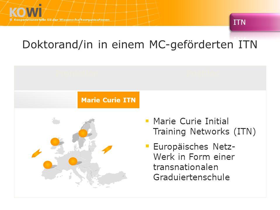Doktorand/in in einem MC-geförderten ITN Promotion Marie Curie ITN Marie Curie Initial Training Networks (ITN) Europäisches Netz- Werk in Form einer t