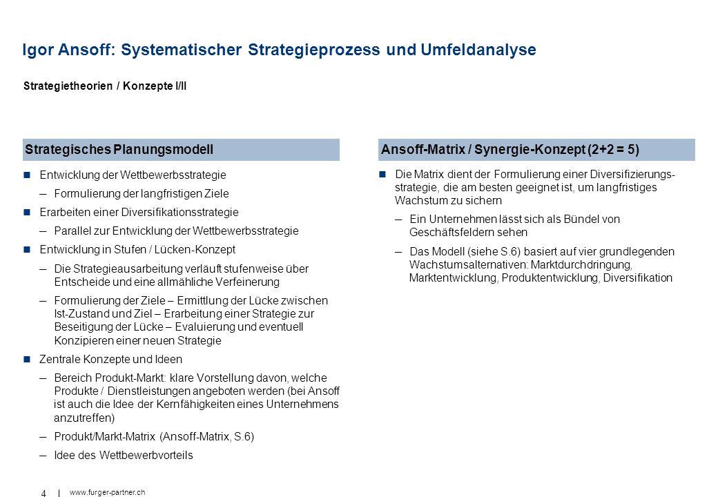 4 www.furger-partner.ch Igor Ansoff: Systematischer Strategieprozess und Umfeldanalyse Entwicklung der Wettbewerbsstrategie Formulierung der langfrist