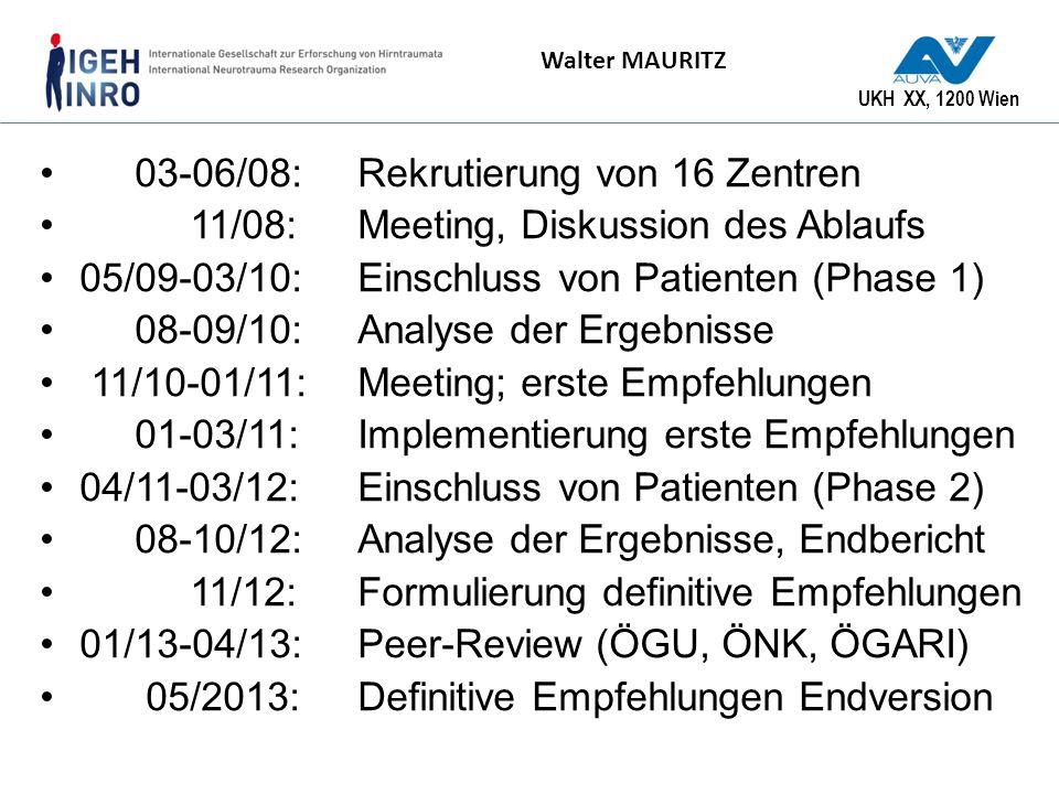 UKH XX, 1200 Wien Walter MAURITZ 03-06/08:Rekrutierung von 16 Zentren 11/08: Meeting, Diskussion des Ablaufs 05/09-03/10: Einschluss von Patienten (Ph