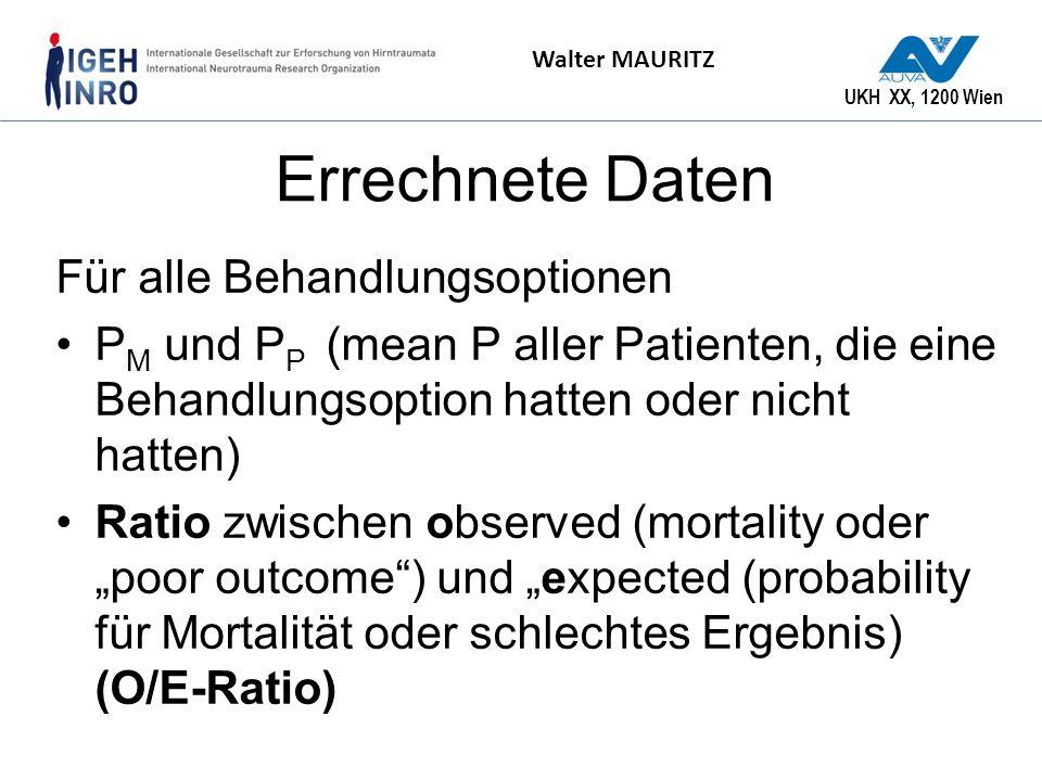 UKH XX, 1200 Wien Walter MAURITZ Errechnete Daten Für alle Behandlungsoptionen P M und P P (mean P aller Patienten, die eine Behandlungsoption hatten