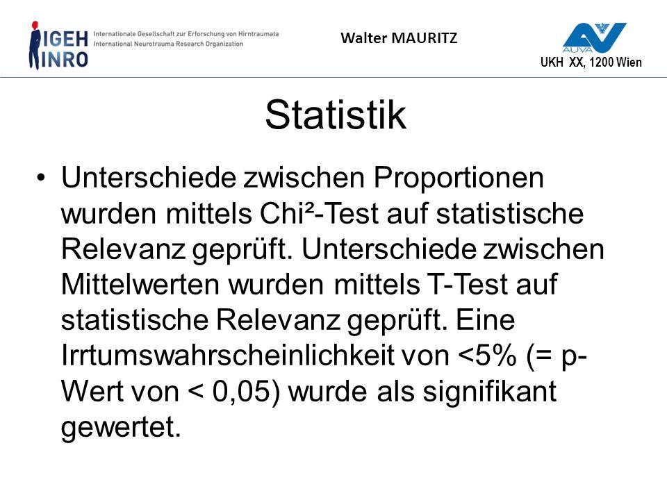 UKH XX, 1200 Wien Walter MAURITZ Statistik Unterschiede zwischen Proportionen wurden mittels Chi²-Test auf statistische Relevanz geprüft. Unterschiede