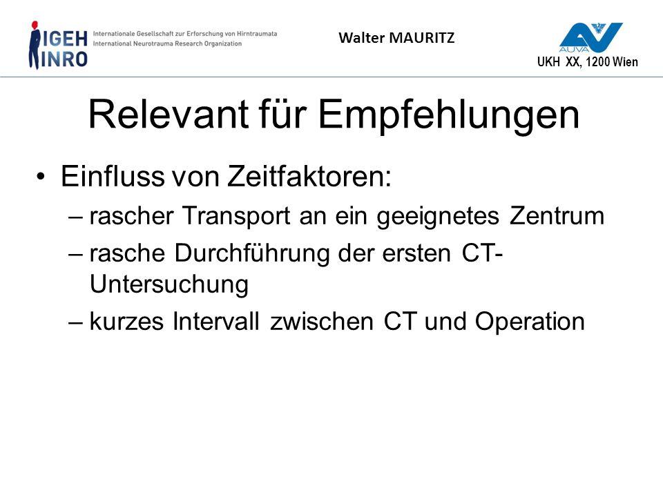 UKH XX, 1200 Wien Walter MAURITZ Relevant für Empfehlungen Einfluss von Zeitfaktoren: –rascher Transport an ein geeignetes Zentrum –rasche Durchführun