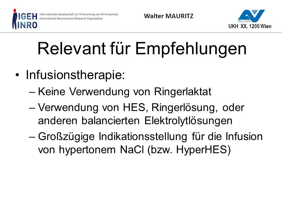 UKH XX, 1200 Wien Walter MAURITZ Relevant für Empfehlungen Infusionstherapie: –Keine Verwendung von Ringerlaktat –Verwendung von HES, Ringerlösung, od