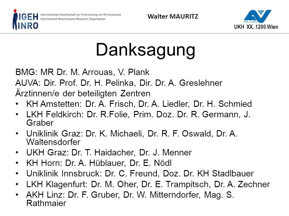 UKH XX, 1200 Wien Walter MAURITZ Danksagung BMG: MR Dr. M. Arrouas, V. Plank AUVA: Dir. Prof. Dr. H. Pelinka, Dir. Dr. A. Greslehner Ärztinnen/e der b
