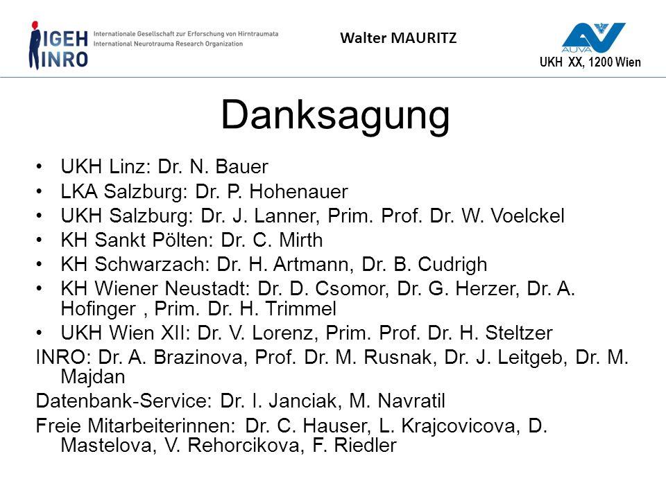 UKH XX, 1200 Wien Walter MAURITZ Danksagung UKH Linz: Dr. N. Bauer LKA Salzburg: Dr. P. Hohenauer UKH Salzburg: Dr. J. Lanner, Prim. Prof. Dr. W. Voel
