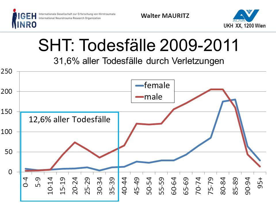 UKH XX, 1200 Wien Walter MAURITZ SHT: Todesfälle 2009-2011 31,6% aller Todesfälle durch Verletzungen
