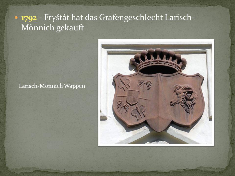 1792 - Fryštát hat das Grafengeschlecht Larisch- Mönnich gekauft Larisch-Mönnich Wappen