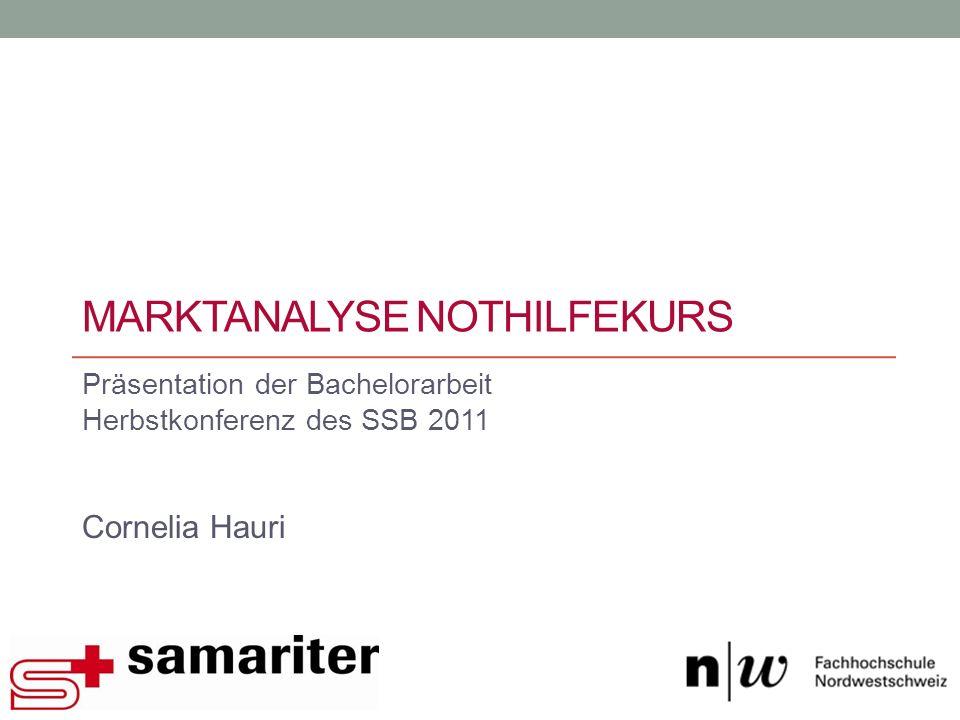 MARKTANALYSE NOTHILFEKURS Präsentation der Bachelorarbeit Herbstkonferenz des SSB 2011 Cornelia Hauri