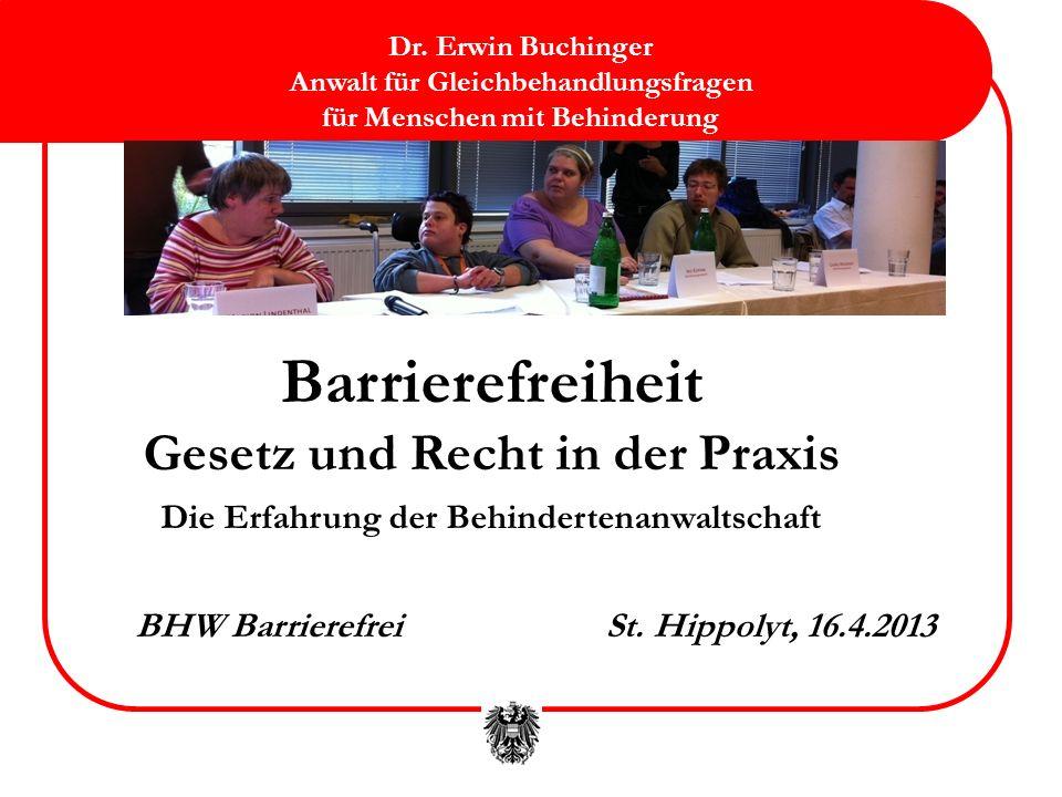 2 Inhalt Kurze Vorstellung der Behindertenanwaltschaft Rechtsgrundlagen und Grundsätze des Behindertengleich- stellungsrechtes (samt UN-Behindertenrechtskonvention) Rechtsgrundlagen zur Barrierefreiheit Rechtsansprüche und Rechtsdurchsetzung Erfahrungen aus Interventionen, Schlichtungen und Klagen Barrierefreiheit