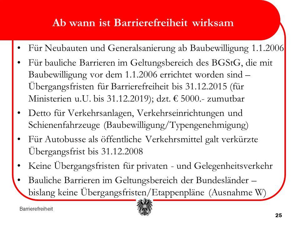 Ab wann ist Barrierefreiheit wirksam 25 Für Neubauten und Generalsanierung ab Baubewilligung 1.1.2006 Für bauliche Barrieren im Geltungsbereich des BGStG, die mit Baubewilligung vor dem 1.1.2006 errichtet worden sind – Übergangsfristen für Barrierefreiheit bis 31.12.2015 (für Ministerien u.U.