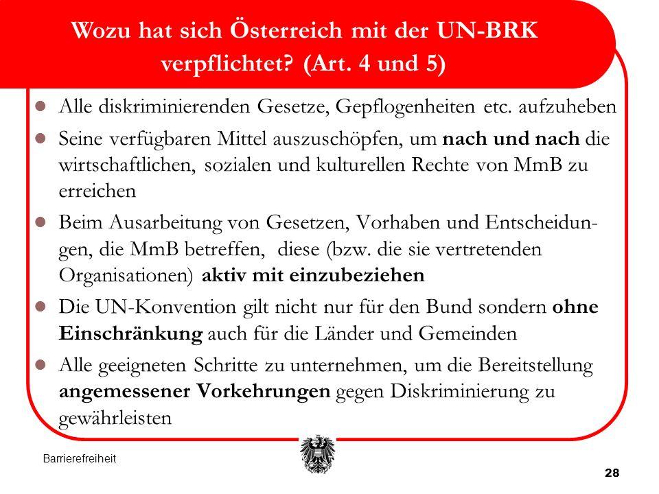 28 Wozu hat sich Österreich mit der UN-BRK verpflichtet.
