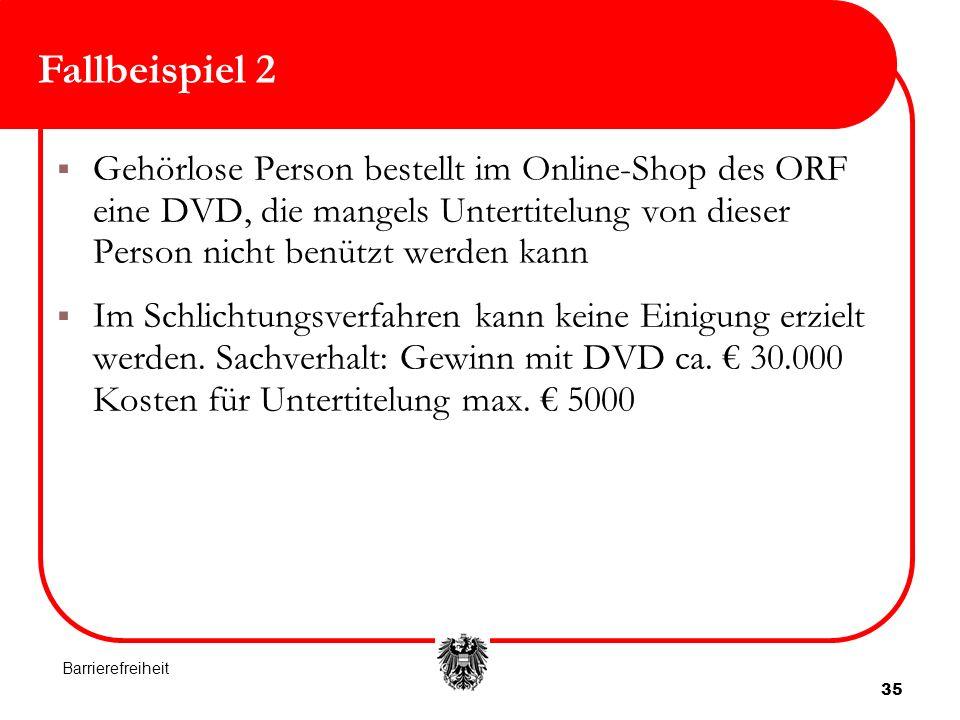 35 Fallbeispiel 2 Gehörlose Person bestellt im Online-Shop des ORF eine DVD, die mangels Untertitelung von dieser Person nicht benützt werden kann Im Schlichtungsverfahren kann keine Einigung erzielt werden.