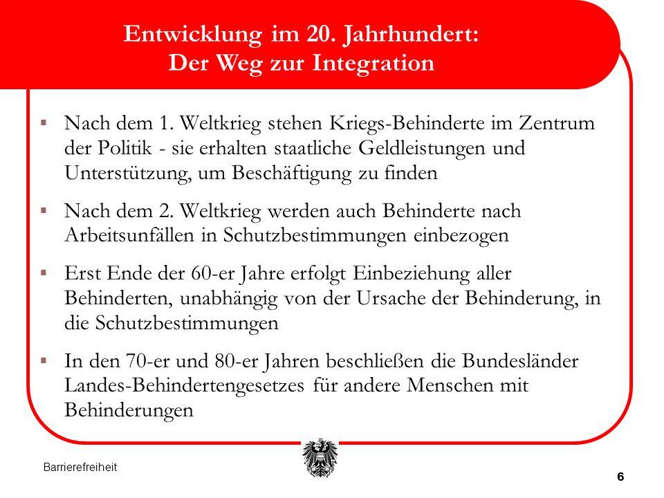 6 Entwicklung im 20.Jahrhundert: Der Weg zur Integration Nach dem 1.