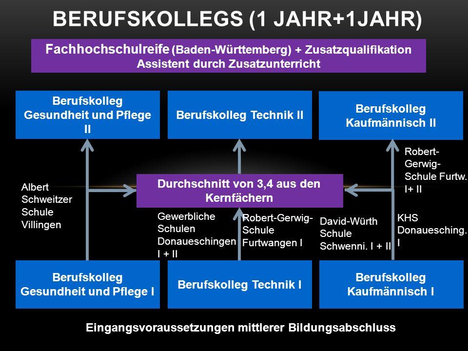 BERUFSKOLLEGS (1 JAHR+1JAHR) Eingangsvoraussetzungen mittlerer Bildungsabschluss Berufskolleg Gesundheit und Pflege I Berufskolleg Technik I Berufskol