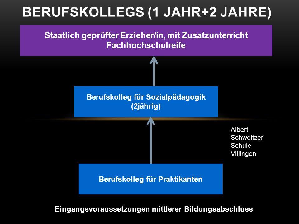 BERUFSKOLLEGS (1 JAHR+2 JAHRE) Eingangsvoraussetzungen mittlerer Bildungsabschluss Berufskolleg für Praktikanten Staatlich geprüfter Erzieher/in, mit