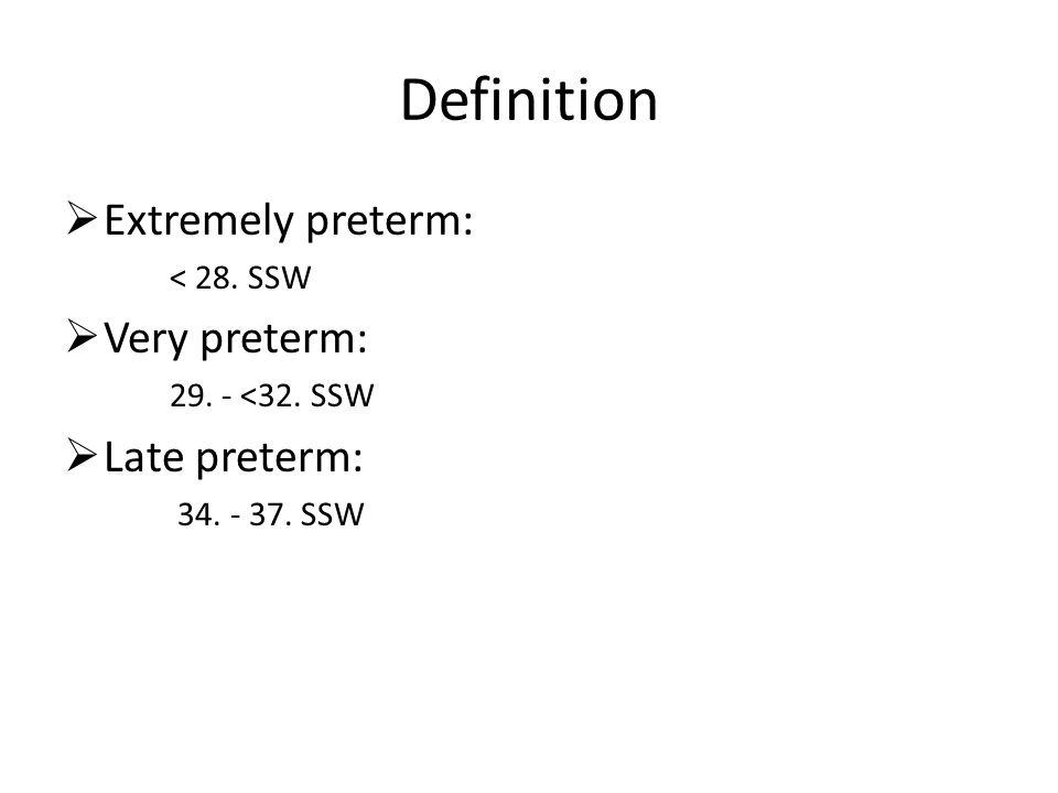 Definition Extremely preterm: < 28. SSW Very preterm: 29. - <32. SSW Late preterm: 34. - 37. SSW