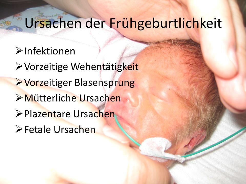Ursachen der Frühgeburtlichkeit Infektionen Vorzeitige Wehentätigkeit Vorzeitiger Blasensprung Mütterliche Ursachen Plazentare Ursachen Fetale Ursachen