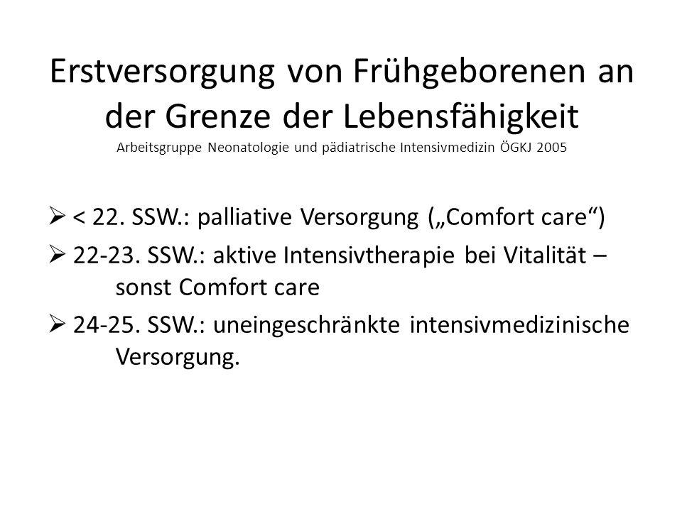 Erstversorgung von Frühgeborenen an der Grenze der Lebensfähigkeit Arbeitsgruppe Neonatologie und pädiatrische Intensivmedizin ÖGKJ 2005 < 22.