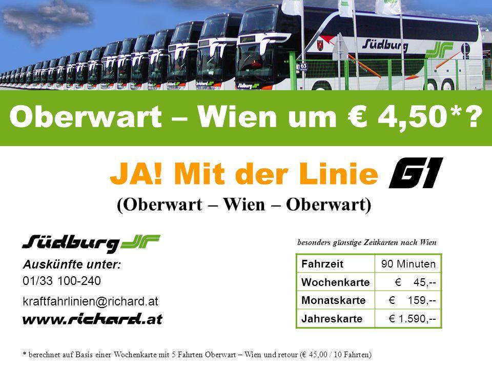 Oberwart – Wien um 4,50*.JA.