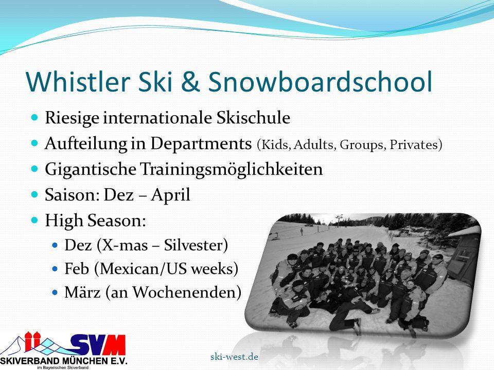 Whistler Ski & Snowboardschool Riesige internationale Skischule Aufteilung in Departments (Kids, Adults, Groups, Privates) Gigantische Trainingsmöglic